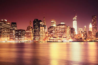 Skylines Photograph - Big Apple - Night Skyline - New York City by Vivienne Gucwa