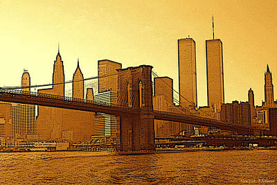 Brooklyn Bridge Drawing - Big Apple Sunrise - New York City by Art America Online Gallery