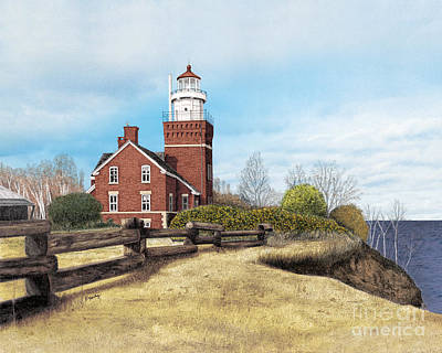Made In Michigan Mixed Media - Big Bay Point Lighthouse by Darren Kopecky