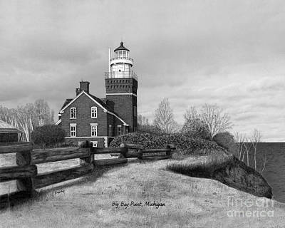 Made In Michigan Mixed Media - Big Bay Point Lighthouse Titled by Darren Kopecky