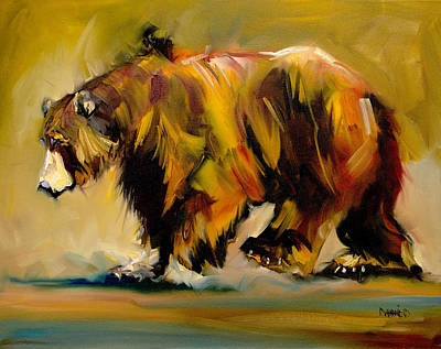 Diane Whitehead Art Original featuring the painting Big Bear Walking by Diane Whitehead