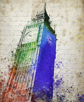 London Skyline Mixed Media - Big Ben by Aged Pixel