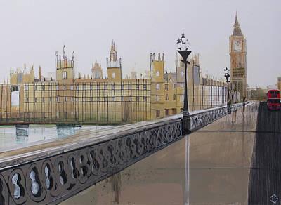 Big Ben Painting - Big Ben Landscape by P.s. Art Studios