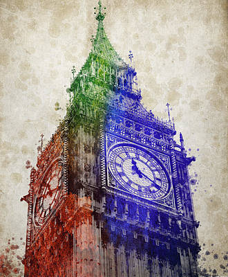 London Skyline Mixed Media - Big Ben London by Aged Pixel