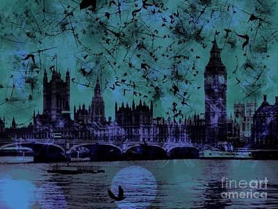 Epic Digital Art - Big Ben On The River Thames by Marina McLain