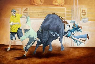 Rodeo Clown Painting - Big Blue by Wendy Mae Peters