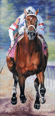 Big Brown Charging Down The Stretch Print by Thomas Allen Pauly