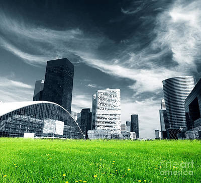 Environmental Photograph - Big City And Green Fresh Meadow by Michal Bednarek