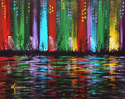 Night Lamp Painting - Big City by Kume Bryant