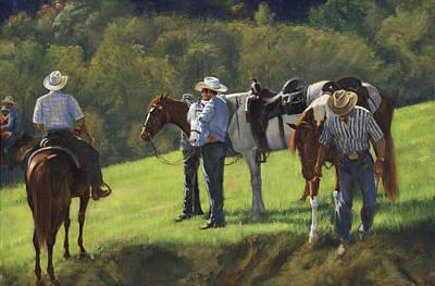 Big Creek Trail Ride Break Print by Don  Langeneckert