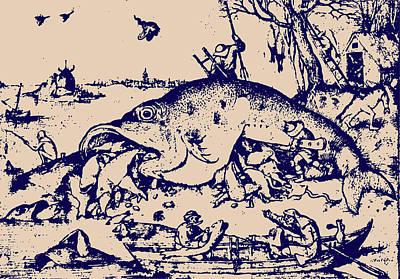 Big Fish Eat Little Fish Print by