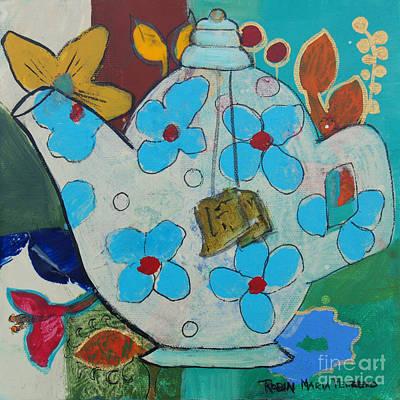 Tea Painting - Big Floral Tea Pot by Robin Maria  Pedrero