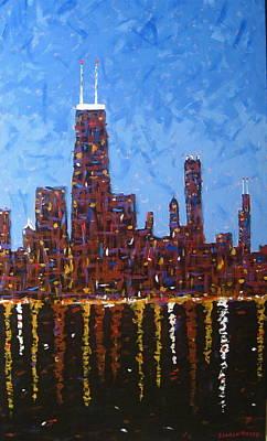 Hancock Building Painting - Big John by J Loren Reedy