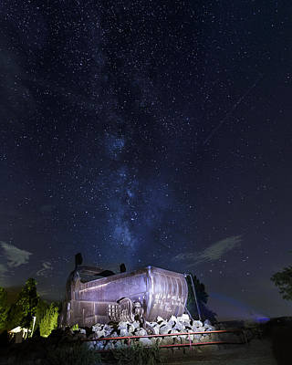 Musky Photograph - Big Muskie Bucket Milky Way And A Shooting Star by Jack R Perry