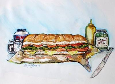 Bread And Cheese Painting - Big Ol Samich by Shana Rowe Jackson