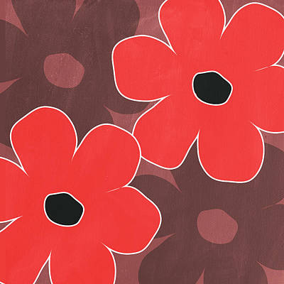 Cute Mixed Media - Big Red And Marsala Flowers by Linda Woods