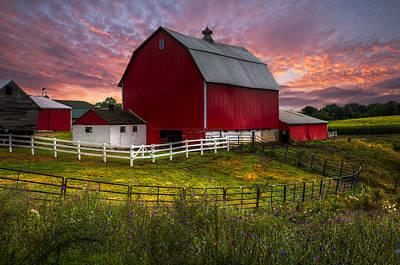 Big Red At Sunset Print by Debra and Dave Vanderlaan