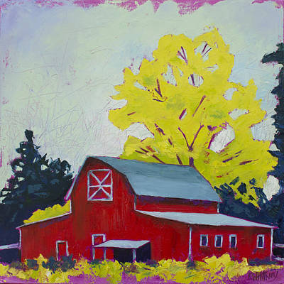 Barn Landscape Painting - Big Red by Kristin Whitney