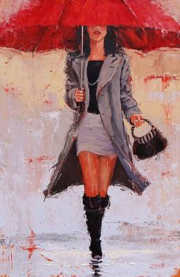 Black Boots Painting - Big Red by Laura Lee Zanghetti