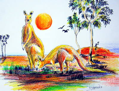 Kangaroo Drawing - Big Reds Kangas by Roberto Gagliardi