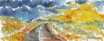 Prairie Sunset Painting - Big Sky - Open Road by Pat Katz