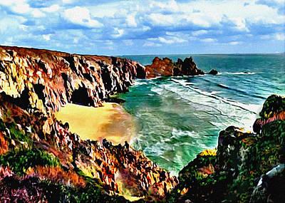 Abstract Beach Landscape Digital Art - Big Sur Coast California Original Painting by Bob and Nadine Johnston