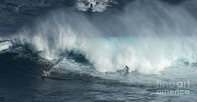 Big Wave Surfers Maui Print by Bob Christopher