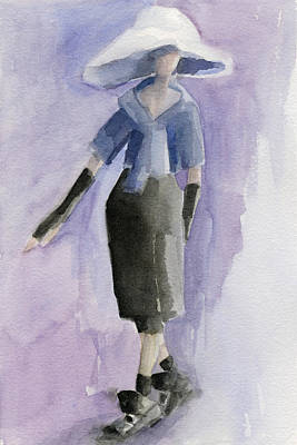 Big White Hat - Watercolor Fashion Illustration Print by Beverly Brown Prints