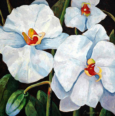 Big White Orchids - Floral Art By Betty Cummings Print by Sharon Cummings