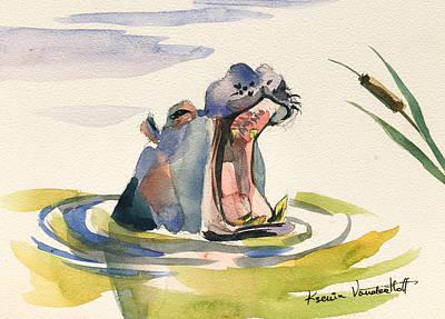 Hippopotamus Painting - Big Yawn. by Ksenia VanderHoff