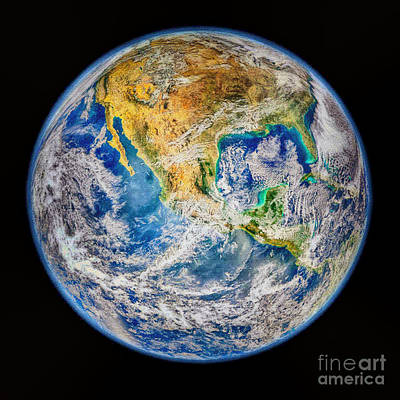 Biggest Image Of Earth Ever N. A. S. A Print by Bob and Nadine Johnston