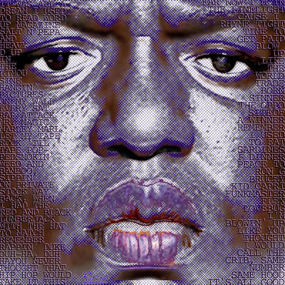 Biggie Smalls Notorious Big And Lyrics Print by Tony Rubino
