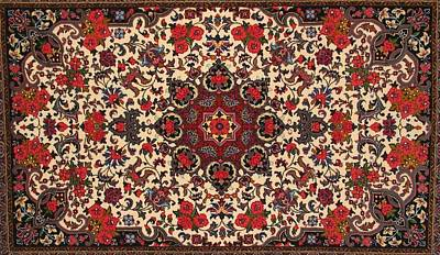 Bijar Red And Cream Silk Carpet Persian Art Poster Print by Persian Art