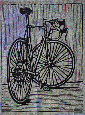 Lino Drawing - Bike 4 On Map by William Cauthern