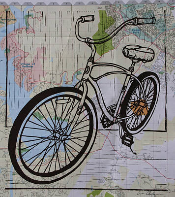 Linoleum Drawing - Bike 6 On Map by William Cauthern