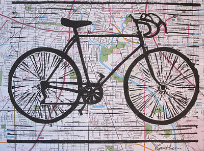 Bike 8 On Map Print by William Cauthern