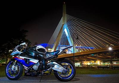 Bike And Bridge Print by Lawrence Christopher