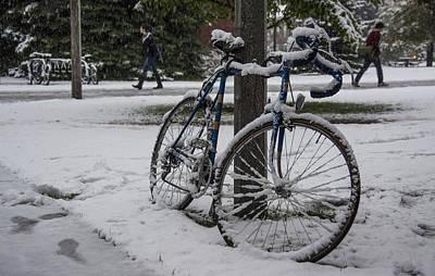 Bike In Snow Print by Nick Garner