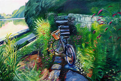 Bike In The Butterfly Garden Print by Colleen Proppe