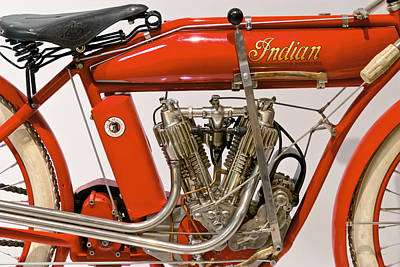 Suburbanscenes Photograph - Bike - Motorcycle - Indian Motorcycle Engine by Mike Savad