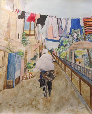 Bike Rider In Jerusalem Original by Esther Newman-Cohen
