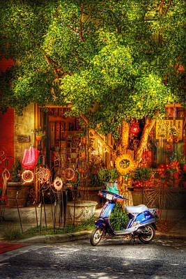 Bike - Scooter - Sitting Amongst Urban Flowers Print by Mike Savad