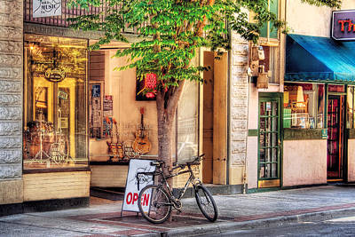 Old Mill Scenes Photograph - Bike - The Music Store by Mike Savad