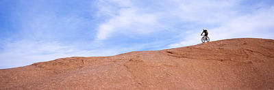 Biker On Slickrock Trail, Moab, Grand Print by Panoramic Images