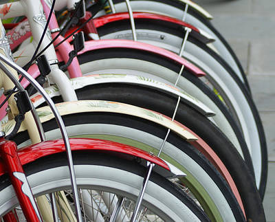 Bikes In A Row Print by Joie Cameron-Brown