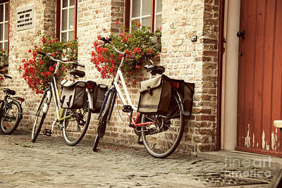 Flower Boxes Photograph - Bikes In The School Yard by Juli Scalzi