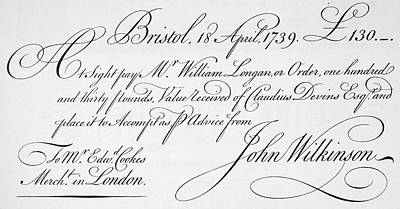 Autograph Painting - Bill Of Exchange, 1739 by Granger