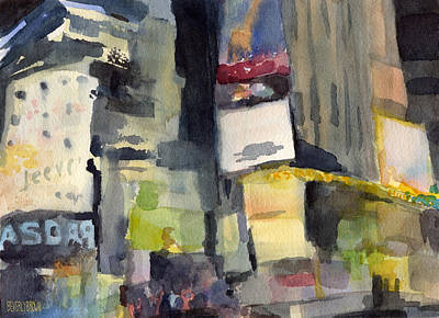 Billboards Times Square At Night Watercolor Painting Of Nyc Print by Beverly Brown Prints