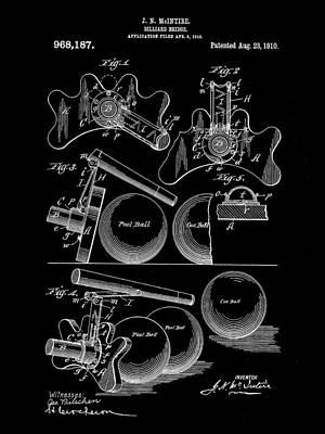 Billiard Sticks Digital Art - Billiard Bridge Patent 1910 - Black by Stephen Younts