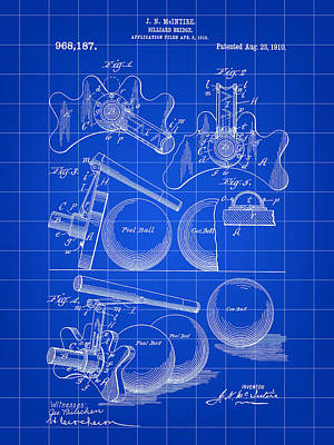 Billiard Sticks Digital Art - Billiard Bridge Patent 1910 - Blue by Stephen Younts